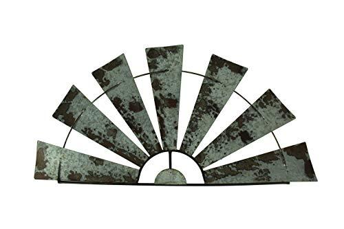 "Special T Imports Galvanized Metal Half-Windmill Wall Sculpture (36"")"