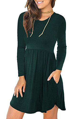 ong Sleeve Loose Plain Dresses Casual Short Dress with Pockets Dark Green XX-Large ()
