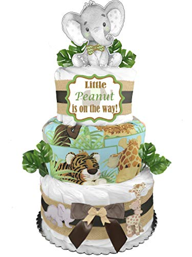 Safari 3-Tier Diaper Cake - Gender Neutral Baby Shower Gift - Elephant and Friends
