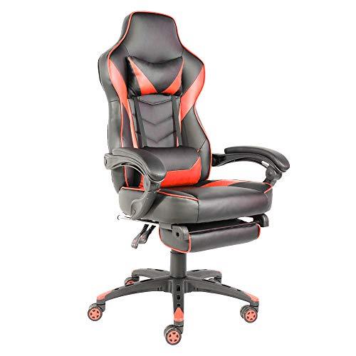 Goujxcy Basics High-Back Executive Swivel Office Computer Desk Chair,Ergonomic High-Back Racing Computer Desk Office Chair,Black & Red
