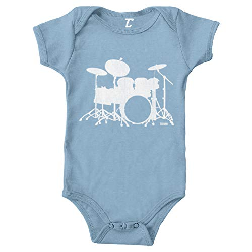 (Drum Silhouette - Rock Band Music Bodysuit (Light Blue, Newborn) )