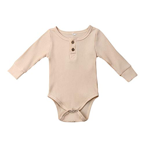 Newborn Baby Pajamas Bodysuit, Toddler Boys Girls Romper Jumpsuit Long Sleeve Solid Casual Playsuit Tops for Autumn Winter (Beige, 0-3 Months) – The Super Cheap
