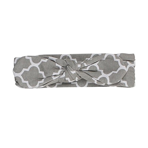 Ruffly Rumps Infant / Toddler Girls' Gray Quatrefoil Stretchy Tie Headband - Gray - One (Gray Quatrefoil Clover)