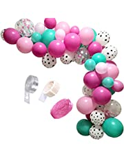 Surprise Party Decorations Balloons Garland Kit,90 Pcs Rose Red Pink Sea Foam Blue White Polka Dots Latex Balloons Surprise Themed for Baby Shower Surprise Birthdays Party