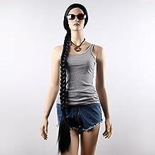 STfantasy Black Display Female Mannequin Wigs extra-long Braid Synthetic Hair Full Peluca 52 Inch 352g