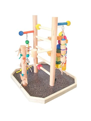 Parrot Playpen (BirdsComfort Medium Bird Play Gym, Bird Activity Center, Wood Tabletop Play Pen for Medium Size Parrots - Base: 24'' x 22' , Overall Height: 22