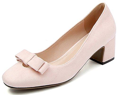 Idifu Mujeres Sweet Bows Chunky Mid Heels Punta Cuadrada Slip On Party Pumps Pink 2