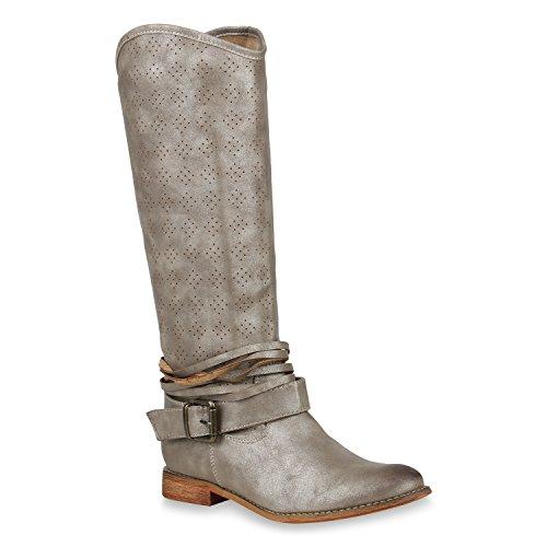 Damen Reiterstiefel Lack Leder-Optik Stiefel Nieten Boots Schuhe Flandell Gold Schnallen