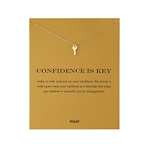 Open Key Heart - ALEAD Ladies Simple and Stylish Key Alloy Pendant Clavicle Necklace with Message Card Gift Card Open The Heart Gift(Key-Gold)