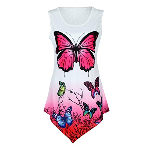 TOTOD Fashion Womens LooseLace Asymmetrical Butterfly Ombre Color Print O-Neck Vest Tank Tops (S, Red) Ombre Silk Chiffon Dress