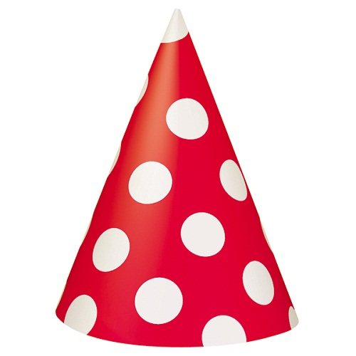 Red Polka Dot Party Hats, 8ct -
