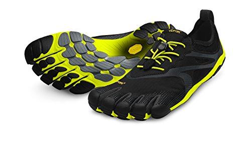 Vibram Men's Bikila EVO Road Running Shoe, Black/Yellow,45 EU/11.5-12 M US