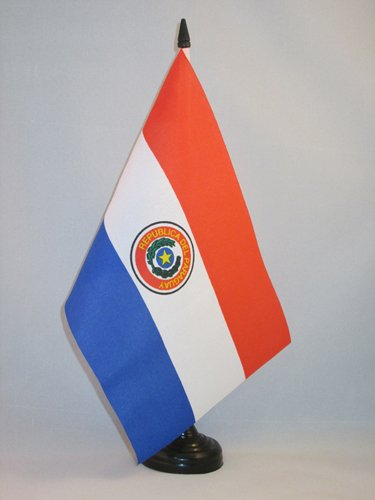 Piccola BANDIERINA PARAGUAIANA 14 x 21 cm AZ FLAG Bandiera da Tavolo Paraguay 21x14cm