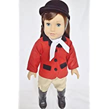 RED AND KHAKI HORSE RIDING OUTFIT FOR AMERICAN GIRL DOLLS AND MAPLELEA