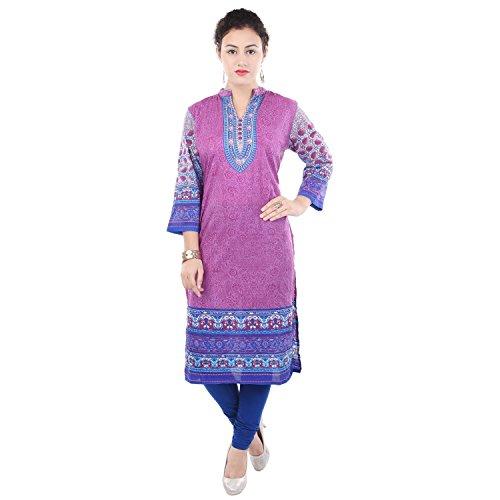 Chichi Indian Women Kurta Kurti 3/4 Sleeve XX-Large Size Printed Straight Multi-Colored Top by CHI