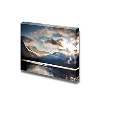 Pretty Expertise, Beautiful Scenery Landscape Small Boat on Foggy Lake in The Mountains Wall Decor, Top Quality Design