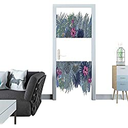 Anmaseven Automatic Door Sticker Hand Drawn Tropical Palm Leaves and Jungle Exotic Flower Holiday Template on White Background with Seamless Frame Border 3D Door Sticker 35x83(90x210 cm)