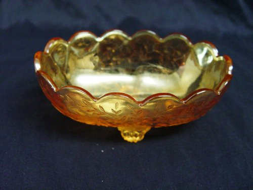Jeanette Floragold Depression Glass Footed Candy or Trinket ()