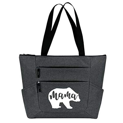 Mama Bear Large Premium Zippered Tote Bag with Front and Side Pockets - Perfect Christmas Gift for Mom, Women, Wife ()