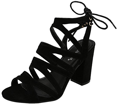 Top Moda Hailey-1 Women's Cutout Tie Back Stacked Chunky Platform Heel (Hailey Cut Out)
