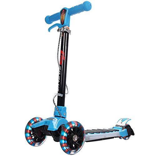 Goplus Kick Scooter for Kids Adjustable 3 Wheels w/ LED Light and Music, Dual Brakes Wide Deck, Folding Kid Scooter(Blue) Scooter W/ 3 Wheels