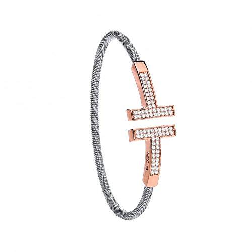 Jareeya-Fil pour femme Argent sterling CZ rose avec revêtement T-Bracelet 10,5g
