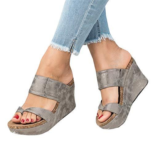 (Syktkmx Womens Slip on Platform Wedge Slides Thong Flip Flops Sandals with Heels )