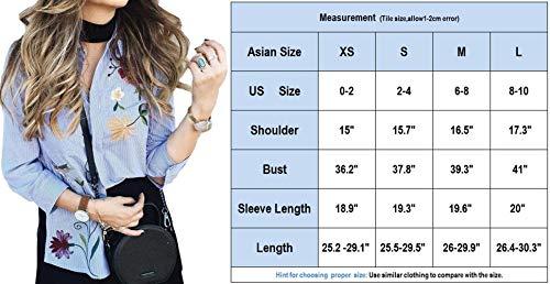 Rayures Longues Asymtrique Fleur Revers Tops Mode Automne Printemps Femme Fashion Simple Boutonnage Chemise Casual Broderie Fleur Blouse Manches Blanc Vintage Haut Large Chic ZIYqw6
