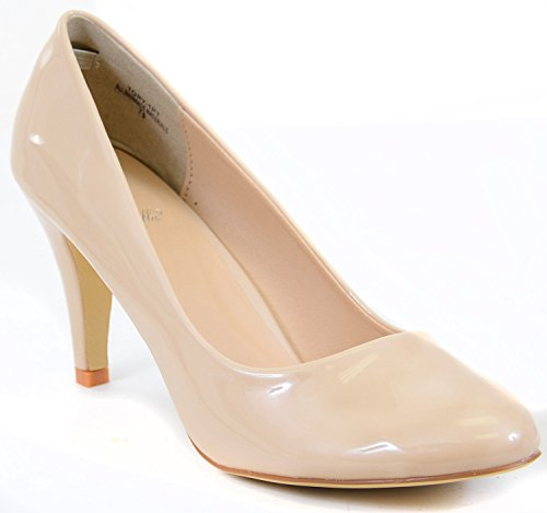 Heel Pump White Sole Non Single Fourever Tory toe shiny Round Matte Classic Low Funky 5vRx0p