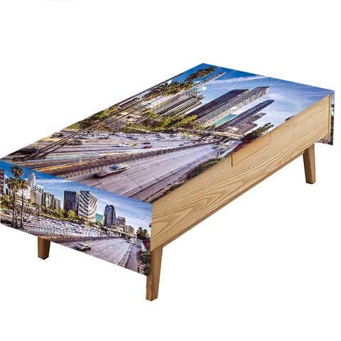 PINAFORE Tablecloth Waterproof Polyester Table Travel Downtown Los Angeles California Avenue Buildings Blue Grey Green Kitchen Decoration Restaurant Decoration W54 x L90 -