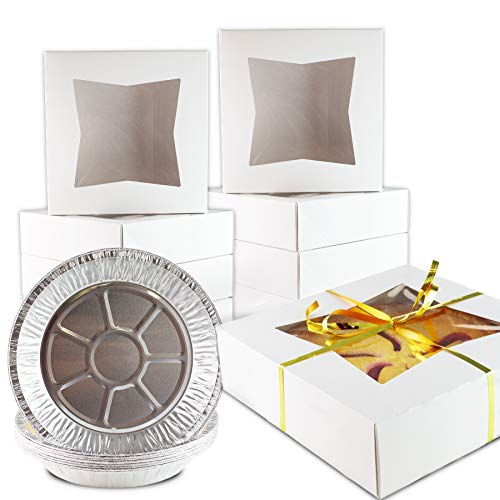 Chefible Extra Thick Durable Pie Box With Window and Pie Tins, Box Is 9x9x2.5 Inches, Perfect for Pies and Pastries, Set of 10 ()