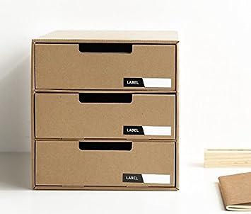 Hogar Oficina A4 archivador 3 cajones de almacenamiento organizador escritorio ordenado cartón DIY Natural MUJI estilo fácil assemable: Amazon.es: Oficina y ...