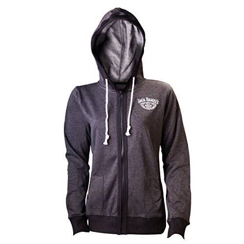 Jack Daniels Old Number 7 Official Womens New Grey Zipped Hoodie - Jack Daniels Clothing For Women