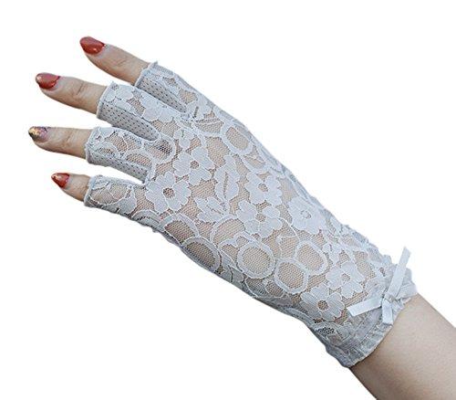 重大セール着服(アーバン ココ)[Urban CoCo]指切り 手袋 レディースUVカット レース 薄手日焼け防止 紫外線カット ドライビング グローブ パーティー用ショート手袋