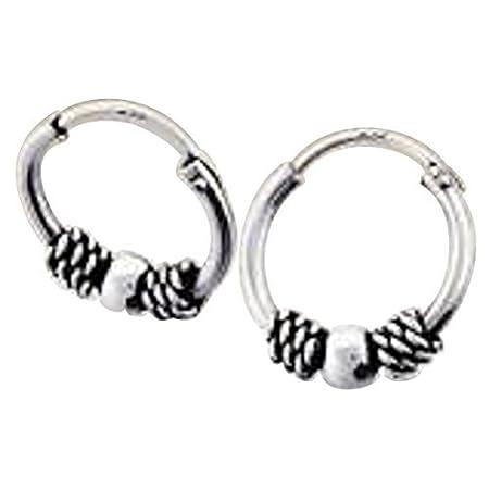 Sterling Silver 10 mm Ball Stud Bali Sleeper Hoop Earrings gtGTsE4HQK