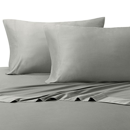 Royal Tradition 100 Percent Bamboo Bed Sheet Set, Twin Extra Long XL, Solid Grey, Super Soft and Cool Bamboo Viscose 3PC Sheets
