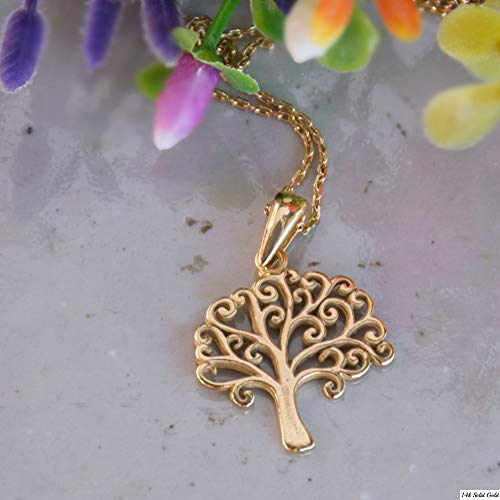 Tree of Life Necklace - 14K Gold Plated over 925 Sterling Silver, Rings Tree of Life Pendant Jewelry, Delicate Necklace for Nature Lovers Simple Minimalist Handmade Jewelry Gift for Women