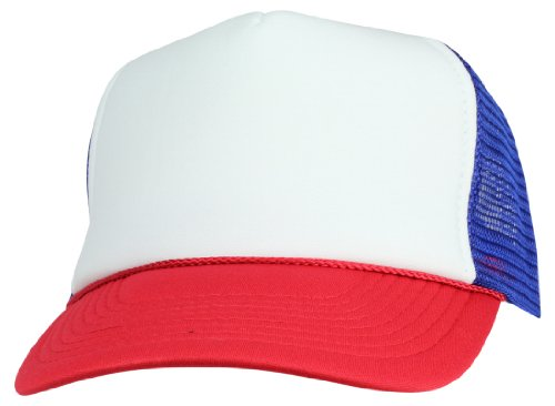 Three Tone Summer Mesh Cap in Royal and Red and White Trucker -