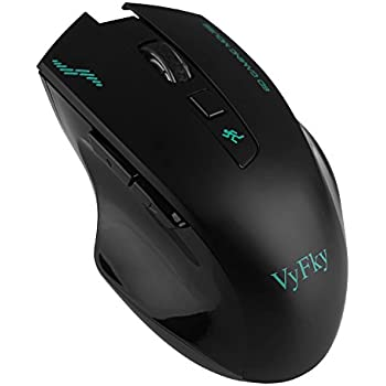 VyFky 2.4G Wireless Mouse, Professional Engineering Optical Mouse, Wireless Mouse, Gaming Mouse, 1200/1400/1600/2400DPI - Black