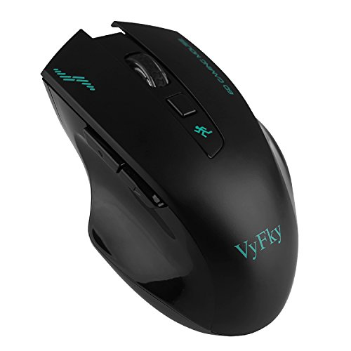VyFky 2.4G Wireless Mouse, Wireless Computer Mouse, Professional Engineering Optical Mouse, Game Mouse, 1200/1400/1600/2400DPI - Black (Output Containers)