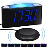 Loud Vibrating Alarm Clock Bed Shaker for Heavy Sleepers Deaf Seniors Kids, Bedrooms Home Kitchen Desk - Large Digital Display & Dimmer, Night Light, 2 USB Ports, Easy Set, 12/24 H DST, Battery Backup