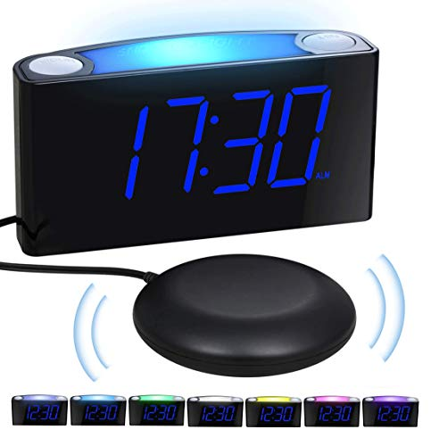 Loud Vibrating Alarm Clock Bed Shaker for Heavy Sleepers Deaf Seniors Kids, Bedrooms Home Kitchen Desk - Large Digital Display & Dimmer, Night Light, 2 USB Ports, Easy Set, 12/24 - Clock Sonic Alert