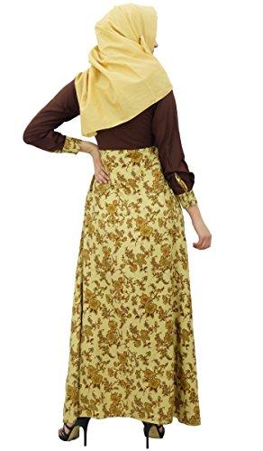 Bimba Frauen Muslim Gedruckt Jilbab Kleid Maxi Abaya Mit Taschen amp ...