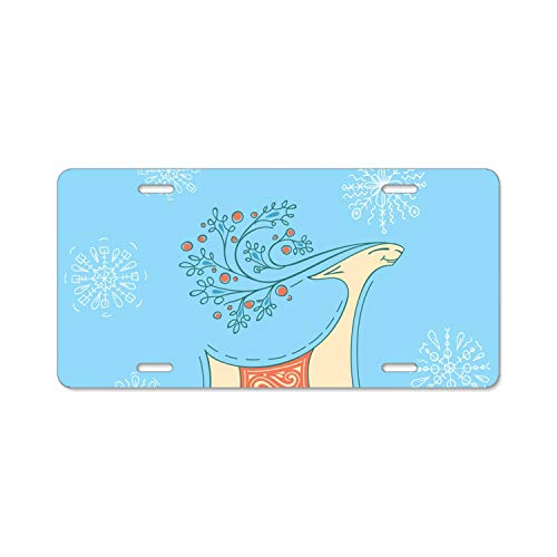 nadoab Personalized Custom Made Christmas Reindeer Metal License Plate Frame