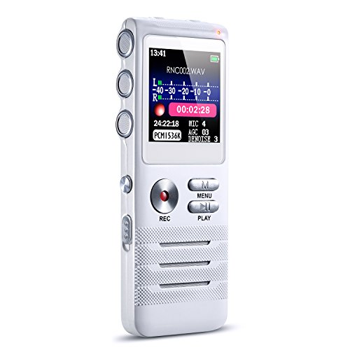 Digital Voice Recorder, 16GB Sound Audio Recorder Dictaphone with High Sensitivity Dual Microphone,Voice Activated, Noise Reduction and MP3 Player for Meeting, Class, Lectures