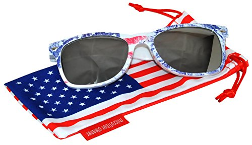Classic American Patriot Sunglasses USA American Flag Frame Silver Mirror Lens OWL