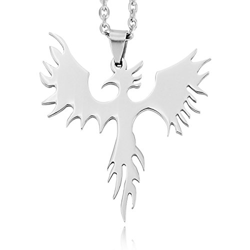 MOWOM Silver Stainless Steel Pendant Necklace Phoenix Bird Firebird