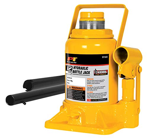 "Performance Tool Wilmar W1643 12-Ton (24,000 lbs.) Heavy Duty Shorty Hydraulic Bottle Jack | Lift Range: 6-5/8"" to 13"""