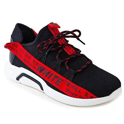 Sneakers Toocool Uomo rosso Scarpe Ginnastica Nero 2 Hn Fitness Stringate Running Scritte Sport ftwwpOq