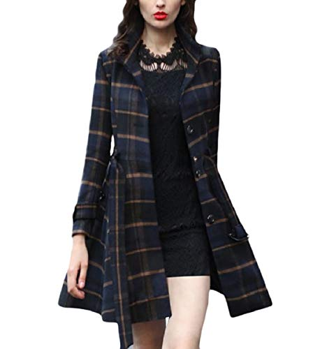 (Zimaes-Women Belted Slim Swing Single Breasted Fleece Plaid Duffle Coat XS)